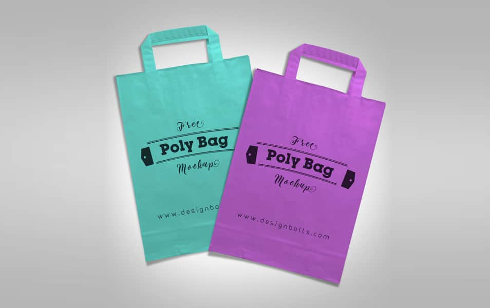Free Plastic Polly Shopping Bag Mock-up PSD