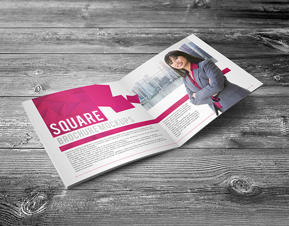 Free Square Brochure Mock-up in PSD