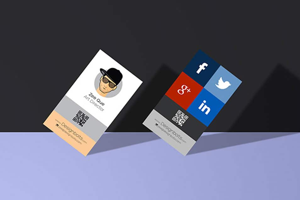 Free Vertical Business Card Design Mockup Template