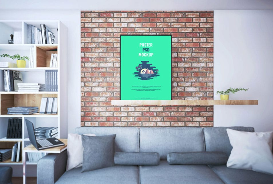 Poster On Shelf PSD Mockup