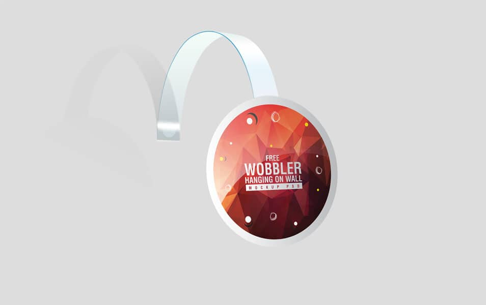 Wobbler Hanging on Wall Mockup PSD
