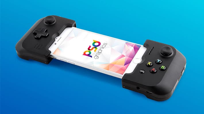 iPhone Gaming Controller Mockup Free PSD