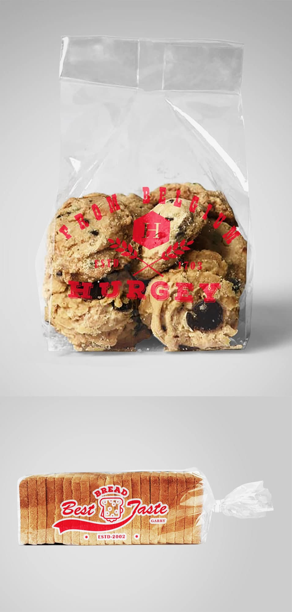 Bread and Cookies Plastic Bag Mockups