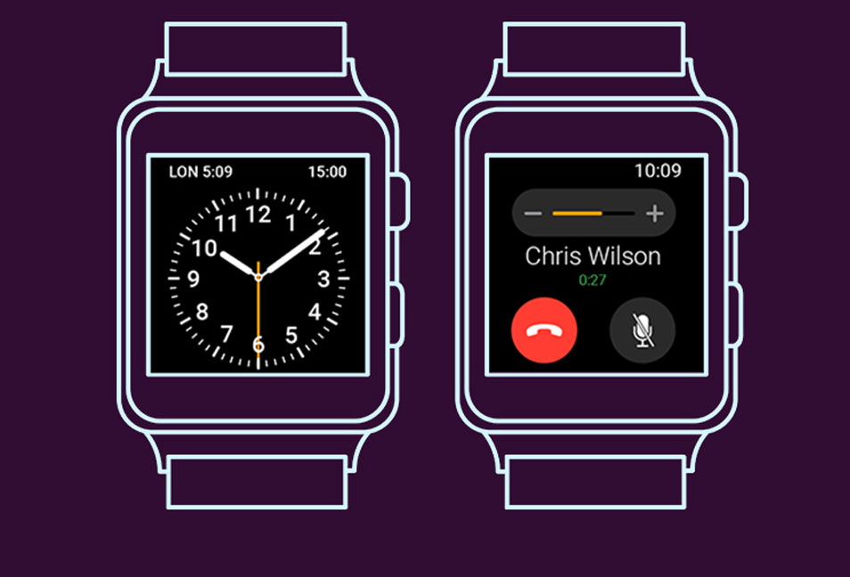 Free Android Wear Smartwatch Wireframe Mockup
