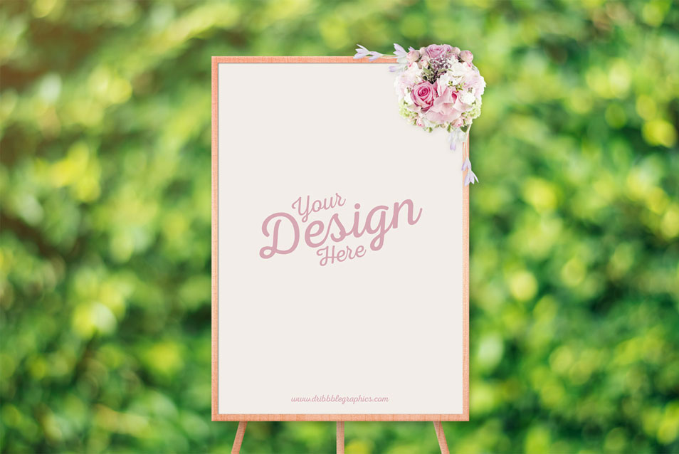 Free Beautiful Ceremony Frame Stand Mockup