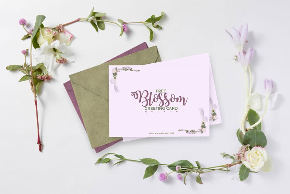 Free Beautiful Floral Blossom Greeting Card Mockup