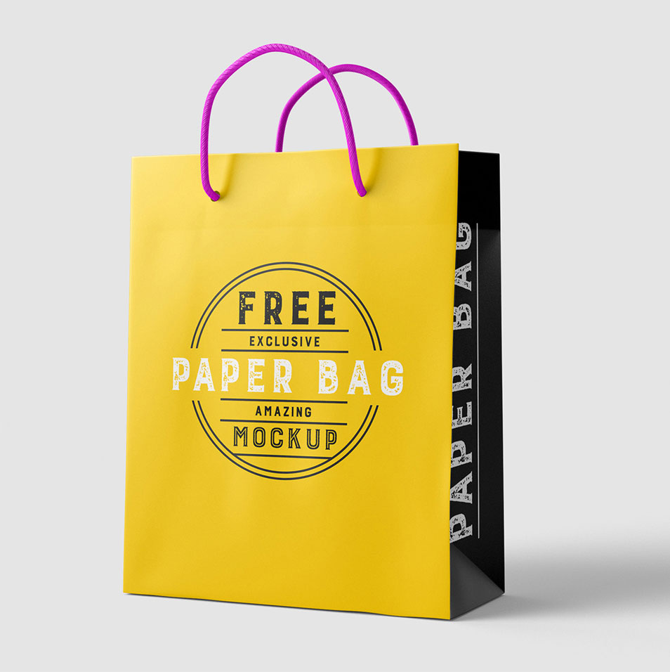 Free Beautiful Paper Shopping Bag MockUp PSD Template