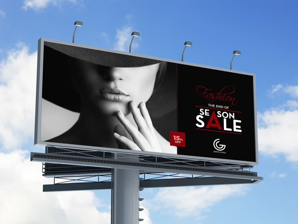 Free Outdoor Advertisement Hoarding Billboard MockUp