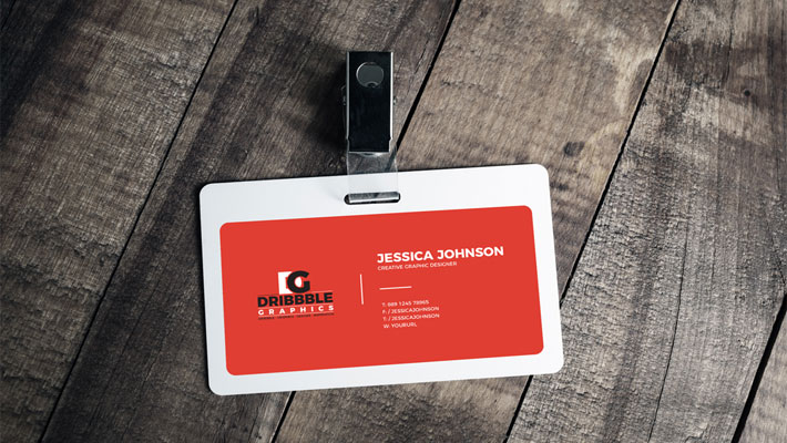 Free Plastic ID Card Badge Mockup