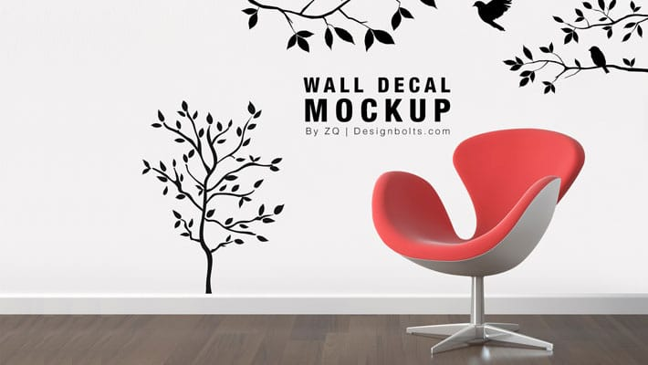 Free Wall Decal / Sticker Mockup PSD » CSS Author
