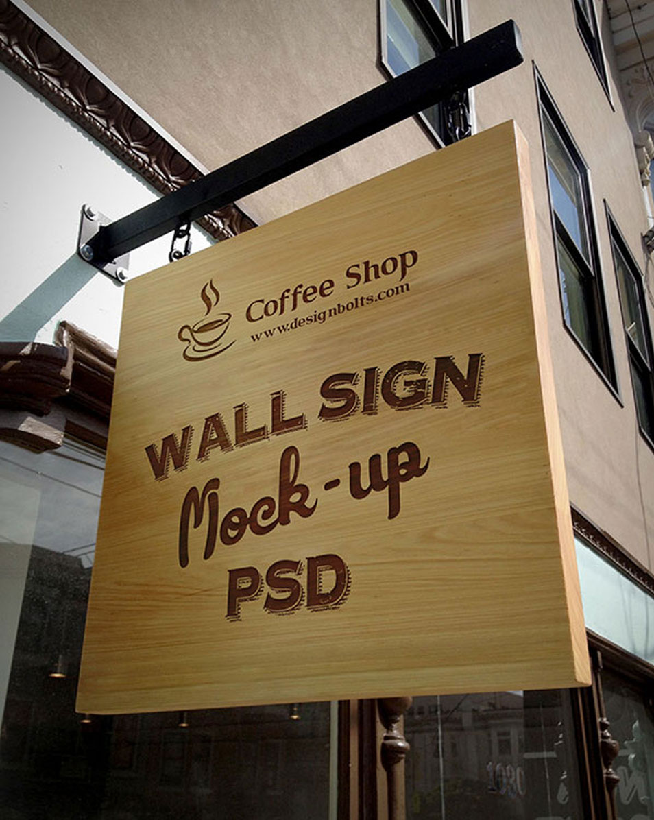 Free Wooden Outdoor Advertising Shop Wall Sign Mock-up PSD