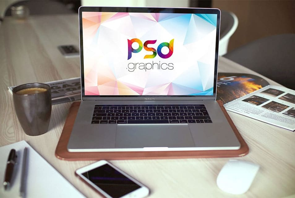 Macbook Pro in Office Mockup Free PSD
