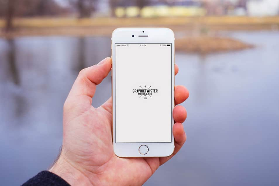 Man Hand iPhone 6 Mockup Front