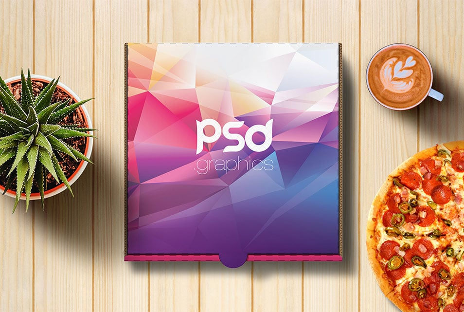 Pizza Box Mockup Free PSD