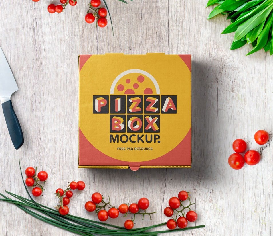 PSD Pizza Box Mockup Packaging