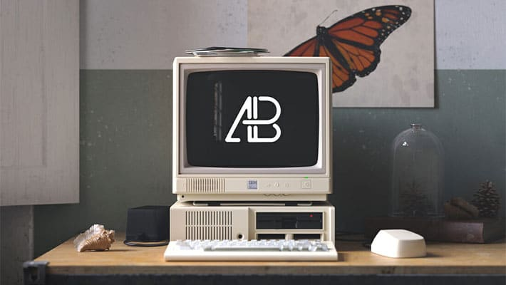 Retro IBM Desktop Mockup