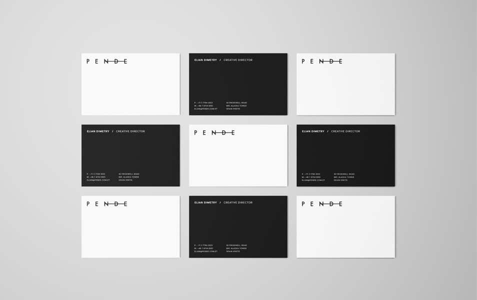Uniform Overhead Business Cards Mockup