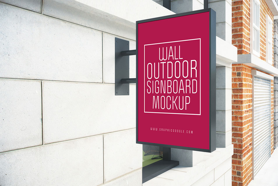 Wall Outdoor Signboard Mock-up