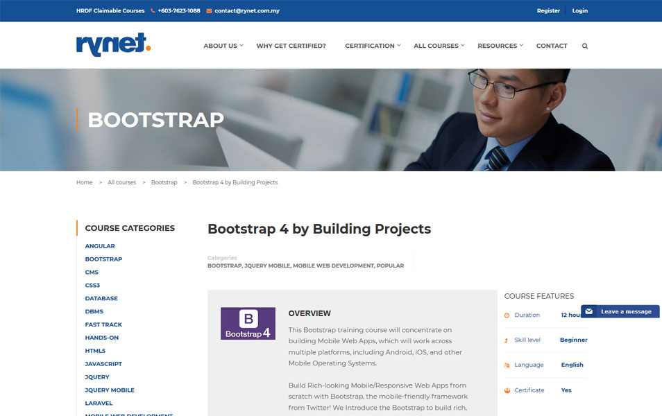 Bootstrap 4 by Building Projects | rynet