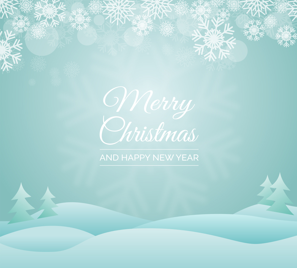 Christmas Greeting Vector with Snowy Landscape