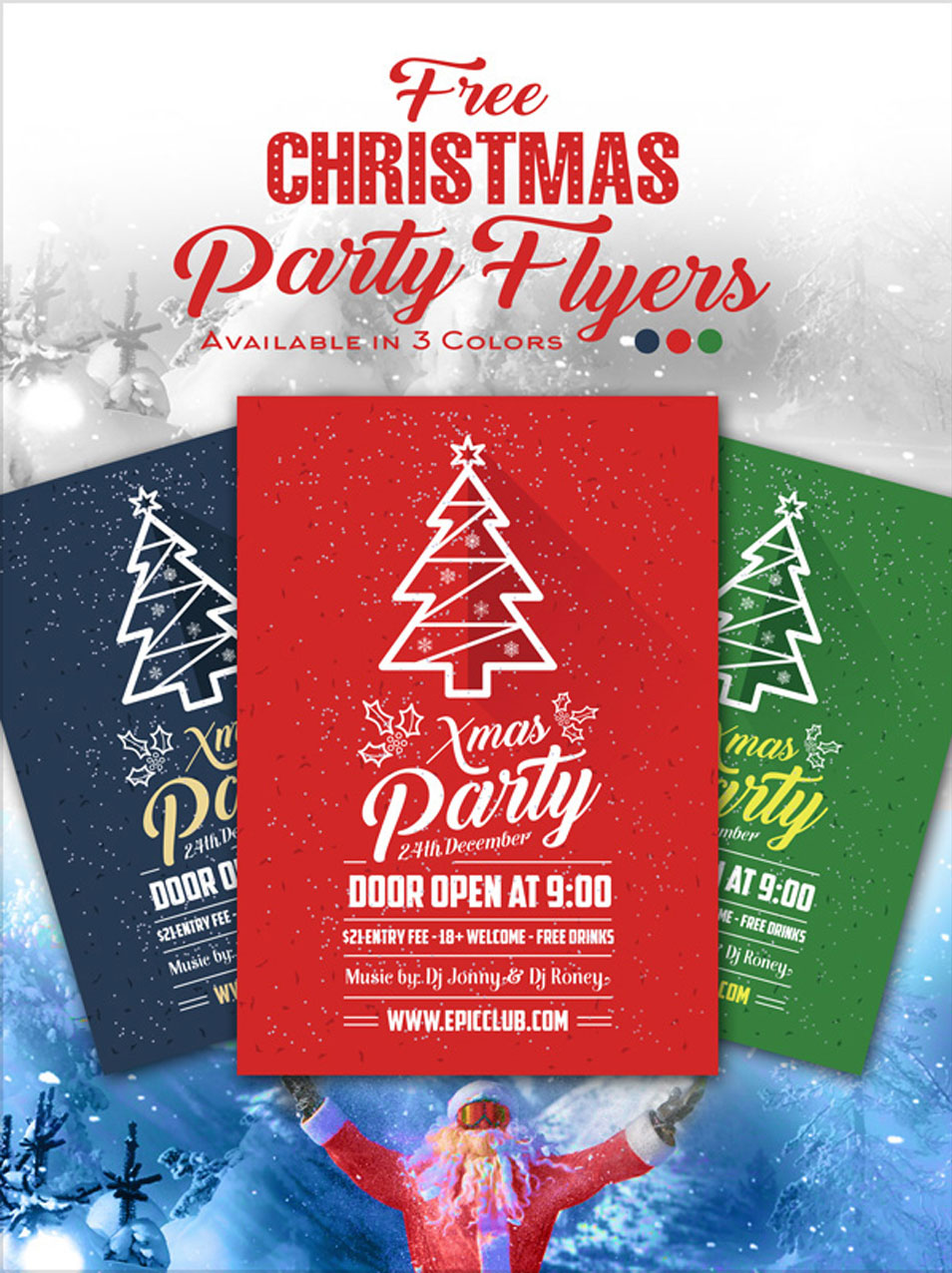 Free A4 Christmas Party Flyer Design Template & Mock-up PSD