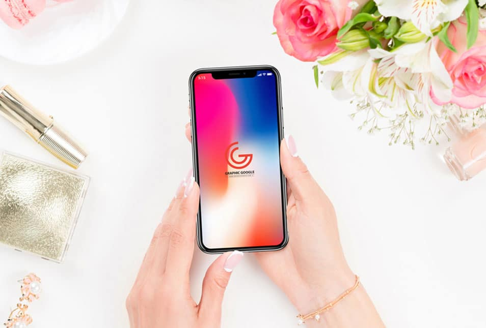 Free Beautiful Women Holding iPhone X Mockup