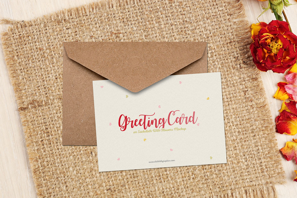 Free Greeting Card on Sackcloth With Flowers Mockup