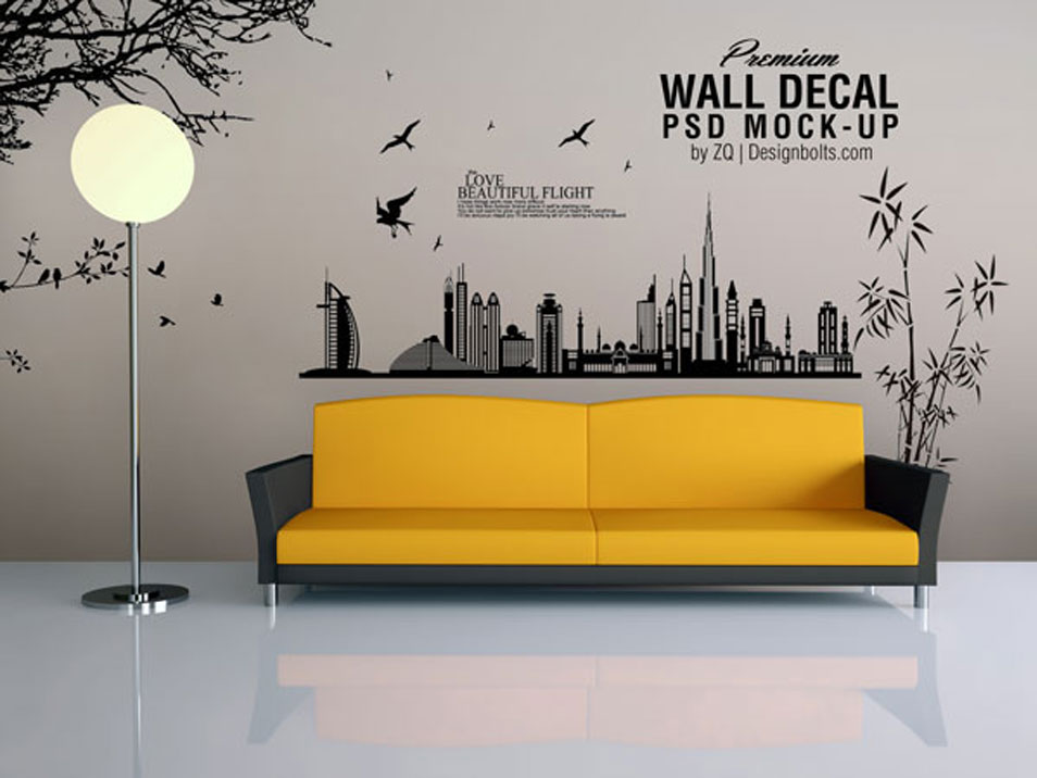 Free Vinyl Wall Art Decal / Sticker Mockup PSD