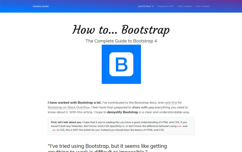 How to Bootstrap - The Complete Guide to Bootstrap 4