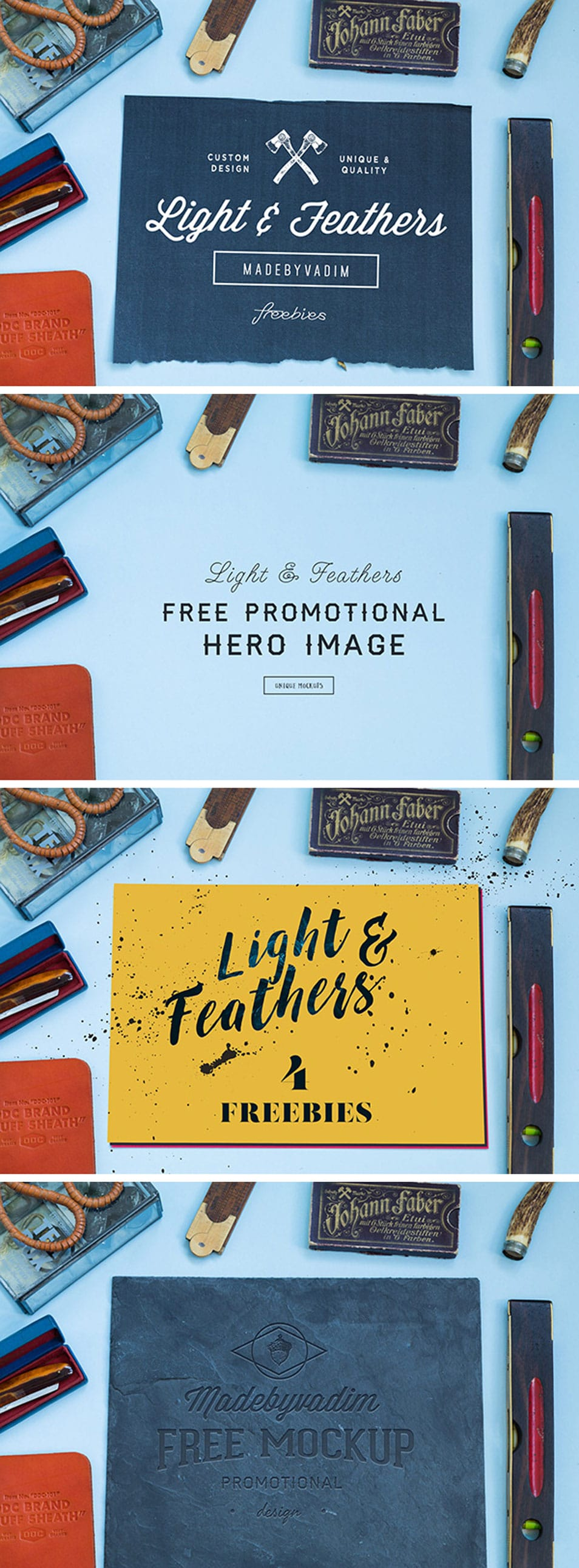 Light & Feather: 4 Free MockUps
