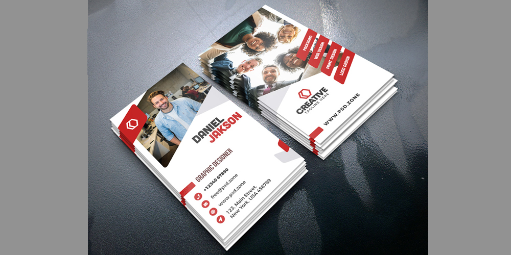 Vertical Creative Business Card PSD