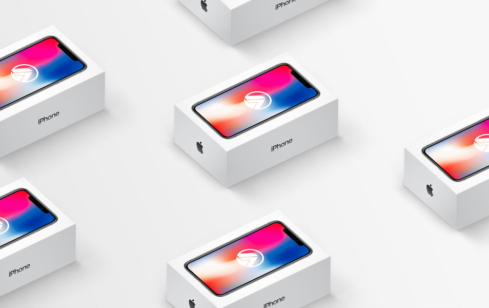 iPhone X Box Isometric Mockup