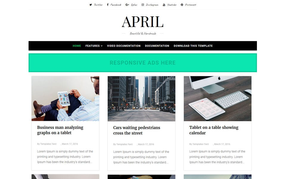 April Responsive Blogger Template