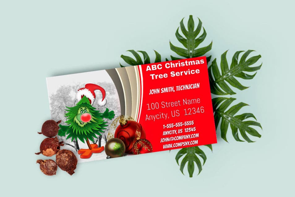 Christmas Business Card Mockup Free PSD