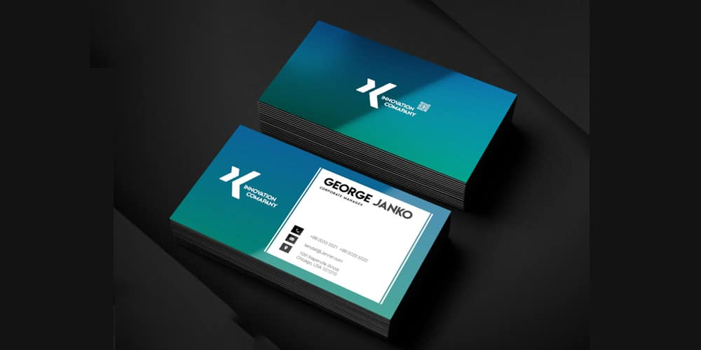 Corporate Manager Business Card Template PSD