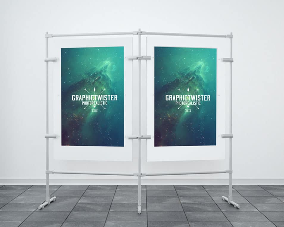 Double Stand Banner Mockup