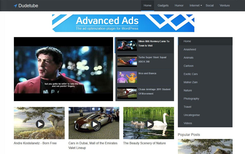 Dudetube Responsive Blogger Template