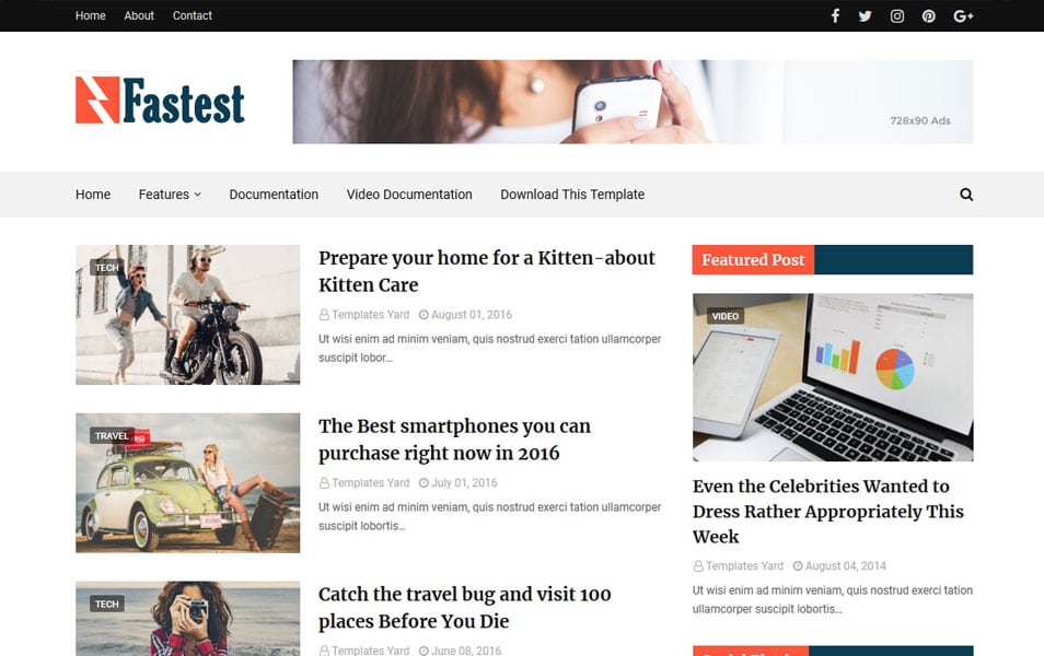 Fastest Responsive Blogger Template