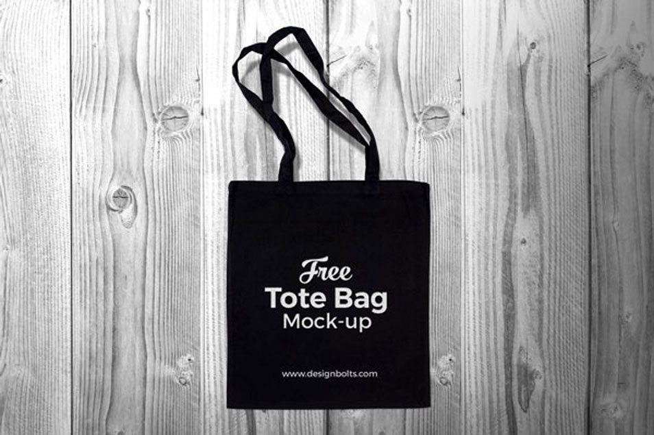 Free Black Cotton Tote Shopping Bag Mock-up PSD