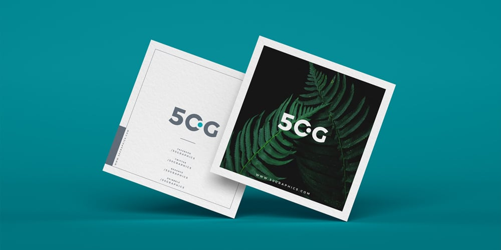 Free Brand Square Business Cards Mockup PSD