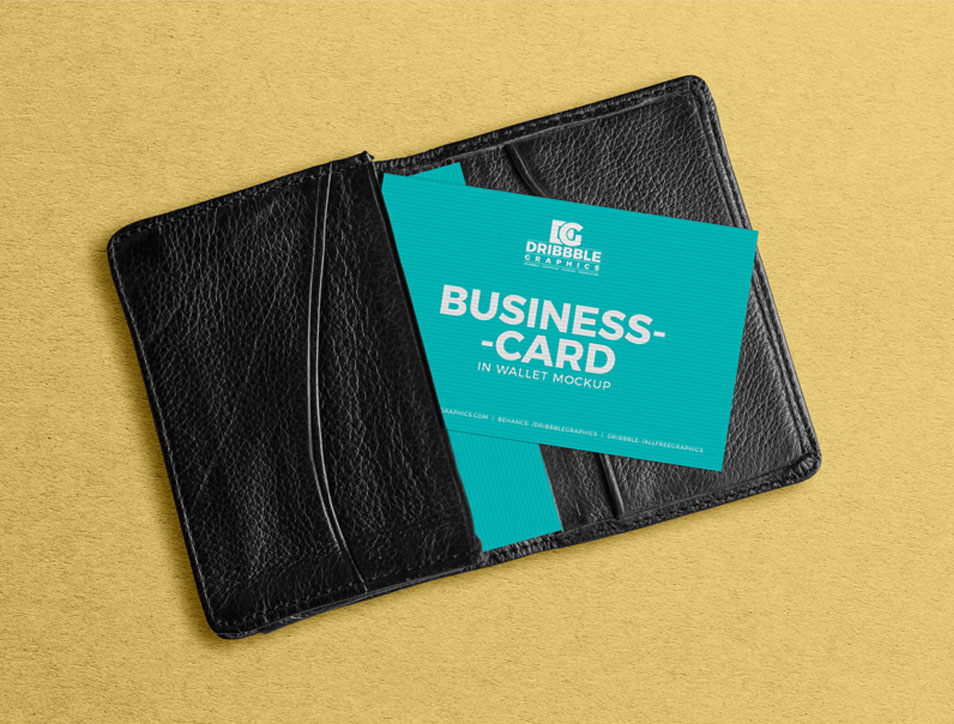 Free Business Card in Wallet Mockup