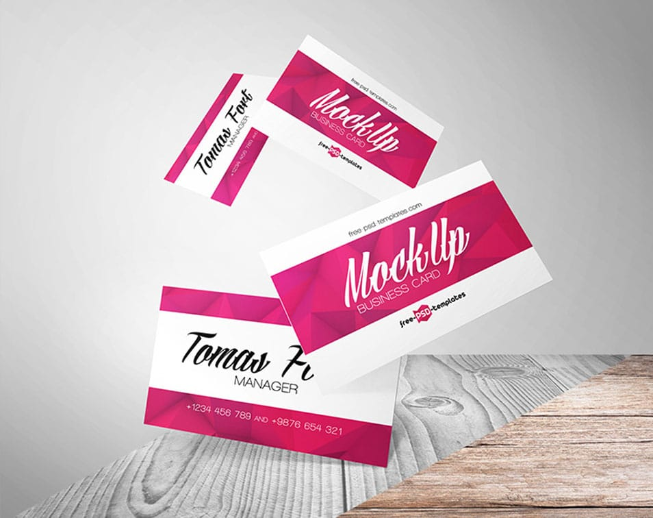 Free Flying Business Cards Mock-up in PSD