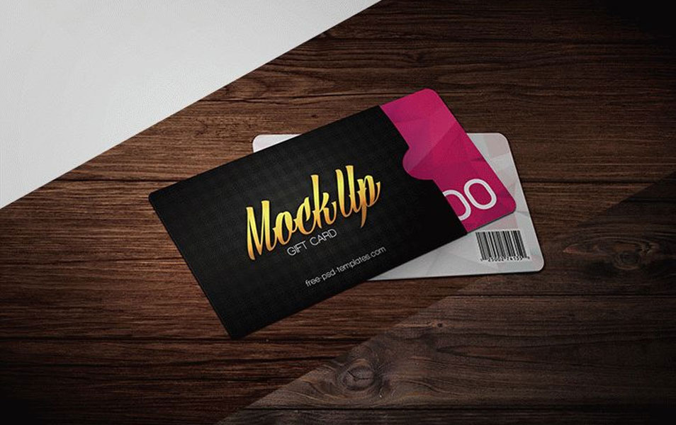 Free Gift Card Mock-up in PSD