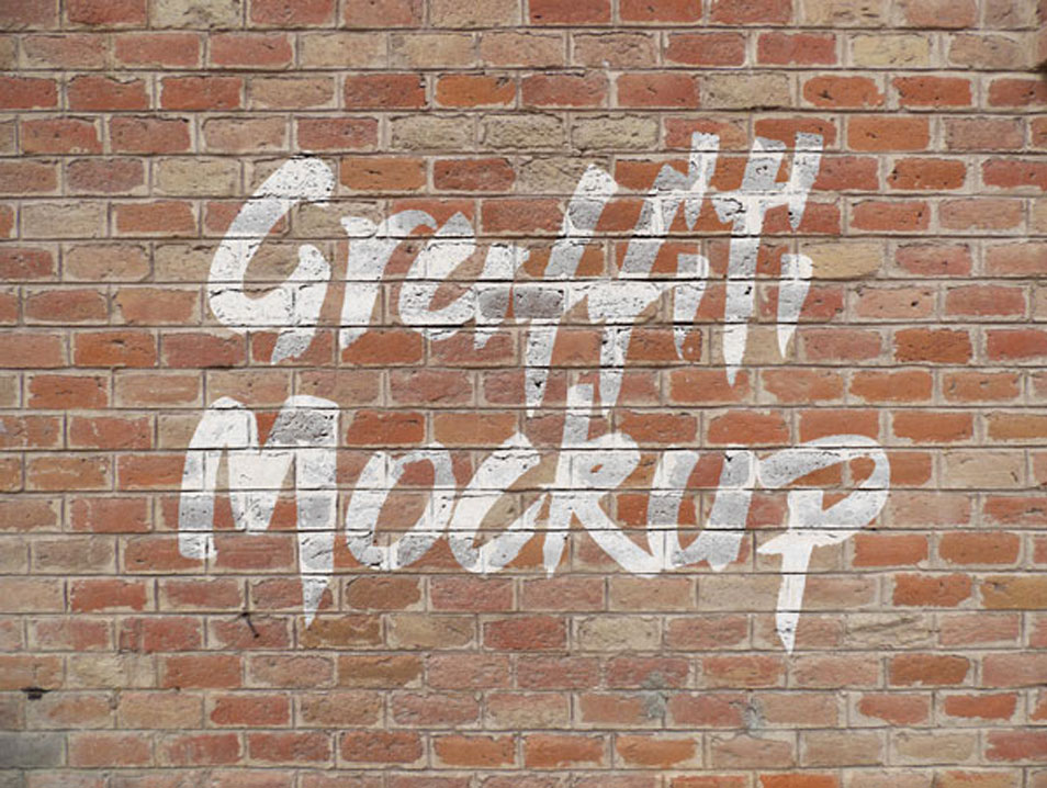 Free Logo & Graffiti Brick Wall Mock-up PSD