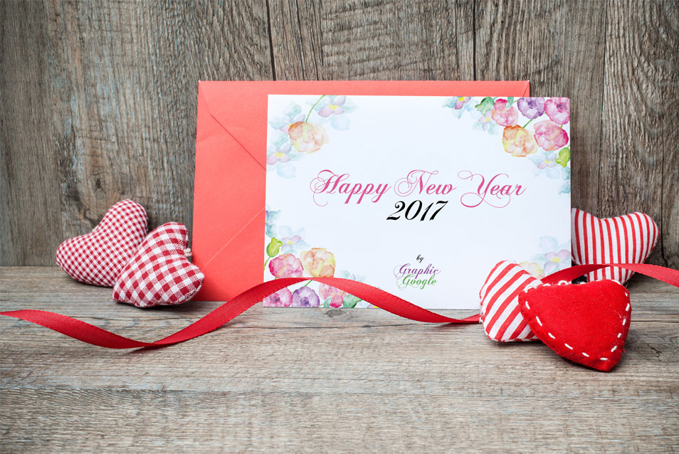 Free New Year Greeting Card Mock-up PSD