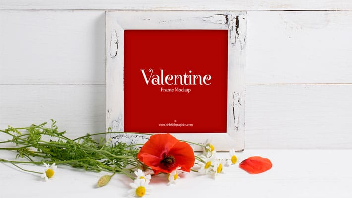 Free Valentine Red Poppies With Frame Mockup