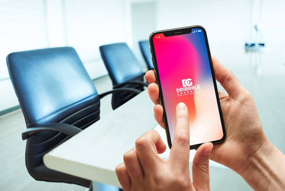 Free Woman Using iPhone X Mockup