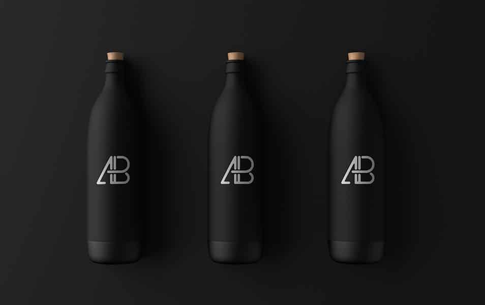 Matte Black Bottle Mockup
