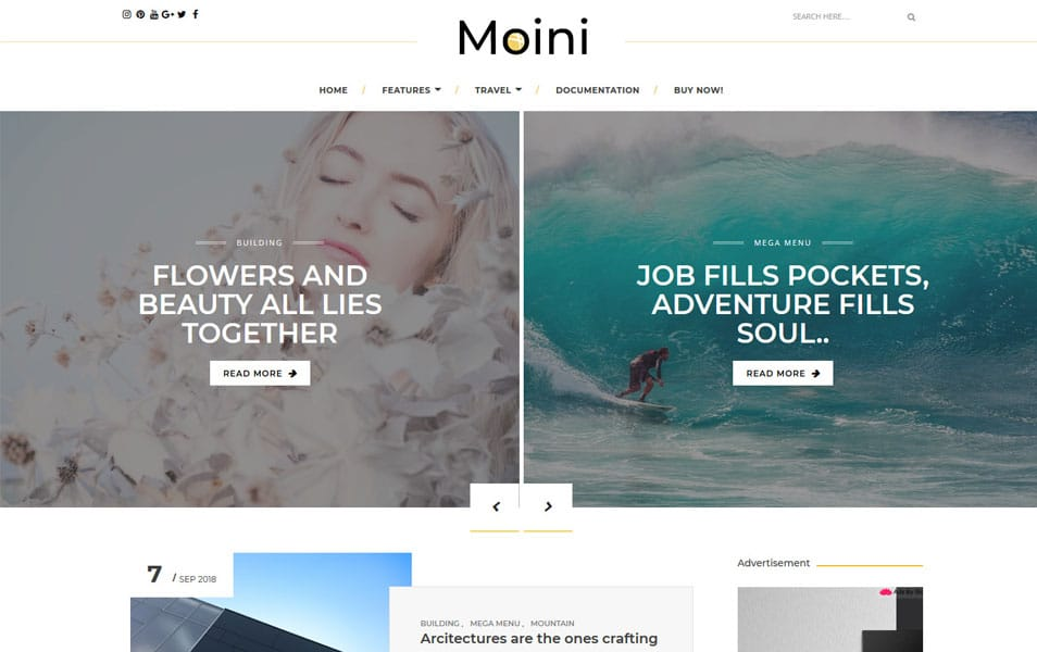 Moini Responsive Blogger Template