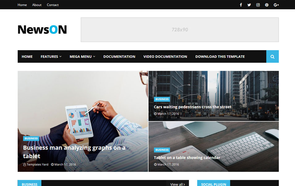 NewsOn Responsive Blogger Template